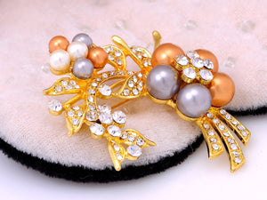 Yellow Pearls Floral Flower Brooch Pin