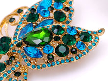 Load image into Gallery viewer, Blue Green Butterfly Flying Brooch Pin