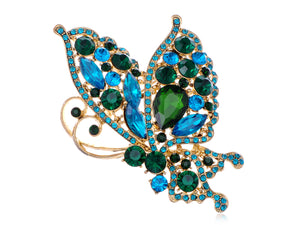 Blue Green Butterfly Flying Brooch Pin