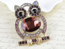 Load image into Gallery viewer, Purple Body Cartoon Owl Bird Pin Brooch