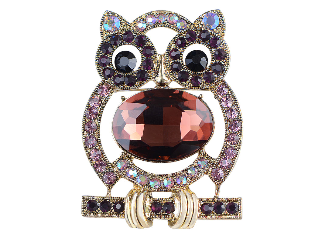 Purple Body Cartoon Owl Bird Pin Brooch