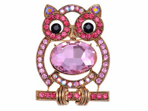 Pink Body Cartoon Owl Bird Pin Brooch