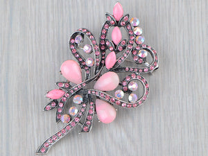 Pink Flower Vintage Bridal Long Brooch Pin