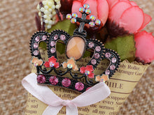 Load image into Gallery viewer, Princess Crown Black Pink Tiara Royal Queen Brooch Pin