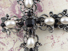 Load image into Gallery viewer, Antique Gun Pearls Black Pastel Holy Cross Brooch Pin Pendent