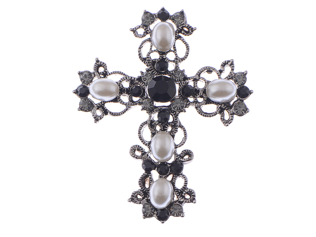 Antique Gun Pearls Black Pastel Holy Cross Brooch Pin Pendent