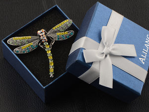 Colorful Yellow Blue Dragonfly Brooch Scarf Decoration Pin
