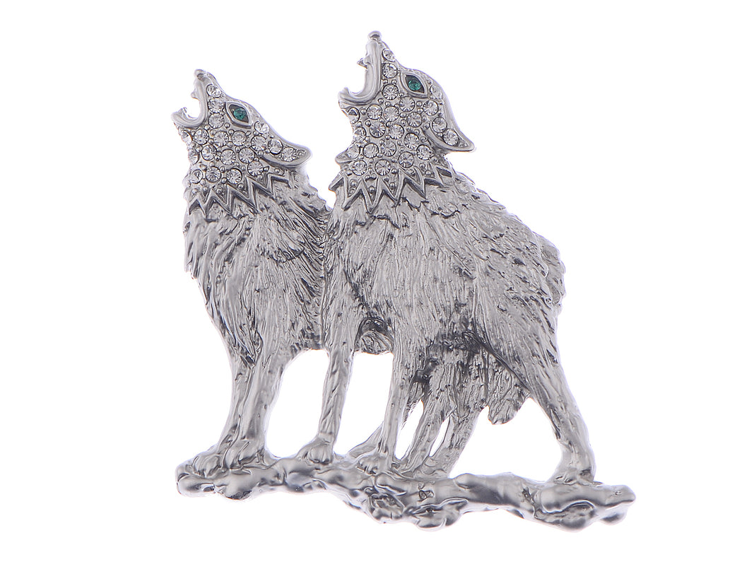 Emerald Green Eyes Howling Couple Wolves Animals Lapel Brooch Pin