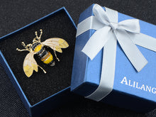 Load image into Gallery viewer, Black And Yellow Bumble Bee Encrusted Enamel Casual Novelty Holiday Pin Brooch
