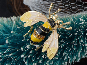 Black And Yellow Bumble Bee Encrusted Enamel Casual Novelty Holiday Pin Brooch