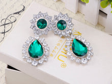 Load image into Gallery viewer, Rich Emerald Green And Diamond Ly D Drop Earrings
