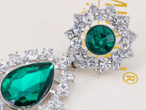 Rich Emerald Green And Diamond Ly D Drop Earrings