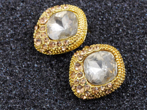 Antique Round Earrings Center And Brown Gems