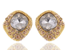Load image into Gallery viewer, Antique Round Earrings Center And Brown Gems