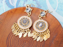 Load image into Gallery viewer, Grey Tons Pearls Tribal Boho Dream Catcher Dangle Earrings