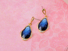 Load image into Gallery viewer, Royal Accented Blue Tear Drop Earrings