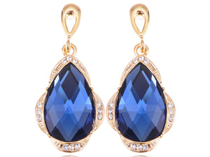 Royal Accented Blue Tear Drop Earrings