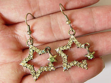 Load image into Gallery viewer, Light Topaz Yellow Lime Green Shooting Star Dangle Earrings