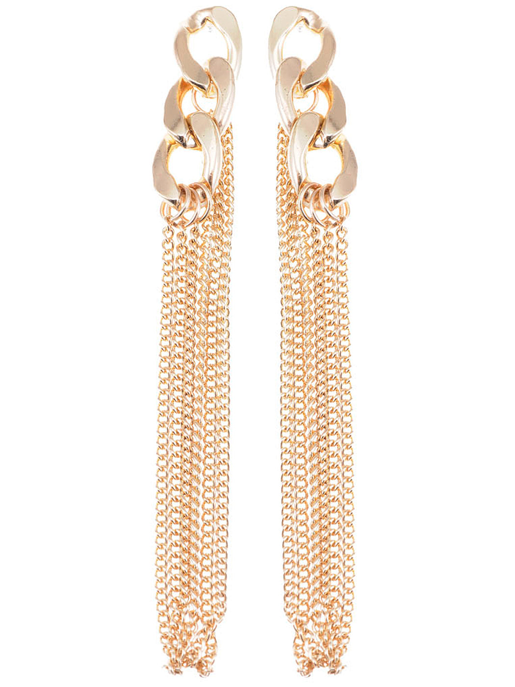 Urban Long Curb Chain Link Dangle Drop Earrings