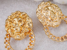 Load image into Gallery viewer, Venetian Etched Lion King Heads Chain Hoop Stud Dangle Earrings