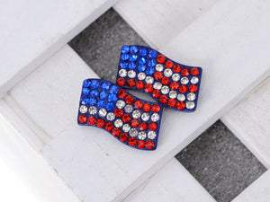 Patriotic USA American Flag 4th Of July Red White And Blue Stud Earrings