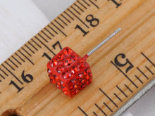 Load image into Gallery viewer, Dice Cube Box Shape Fire Siam Red Hot Flaming Earrings