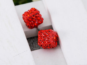 Dice Cube Box Shape Fire Siam Red Hot Flaming Earrings