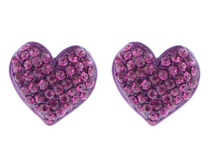 Shimmer Pink Valentines Heart Stud Earrings