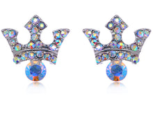 Load image into Gallery viewer, Aurora Borealis Byzantine Royalty King Crown Stud Earrings