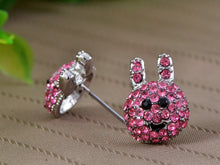 Load image into Gallery viewer, Hot Pink Fuchsia Anime Cartoon Ice Bunny Rabbit Stud Earrings