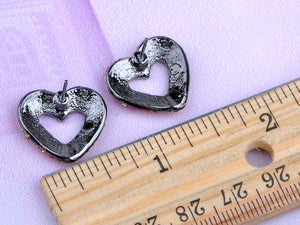 Gun Red Romantic Valentines Day Heart Stud Earrings