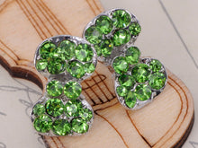 Load image into Gallery viewer, Peridot Emerald Green Fun Fat Cocktail Bow Tie Stud Earrings