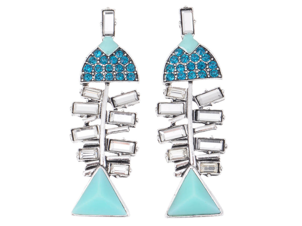 Geometric Shape Blue Fish Body Earrings
