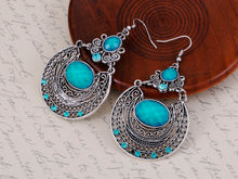 Load image into Gallery viewer, Bohemian Egyptian Pattern Blue Turquoise Earrings