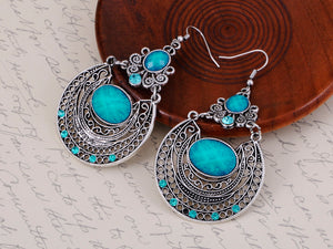 Bohemian Egyptian Pattern Blue Turquoise Earrings