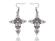 Load image into Gallery viewer, Gun Victorian Cross Hook Dangle Earrings