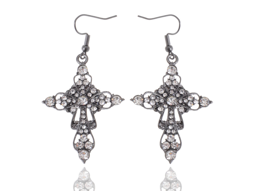 Gun Victorian Cross Hook Dangle Earrings
