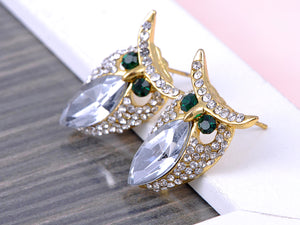 Emerald Eye Marquis Body Owl Bird Stud Earrings