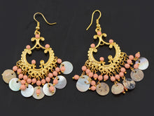Load image into Gallery viewer, Boho Tribal Gold Turquoise Blue Seashell Chandelier Goddess Earrings
