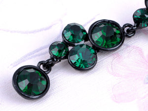Emerald Green Orb Abstract Cluster Flower Dangle Drop Earrings