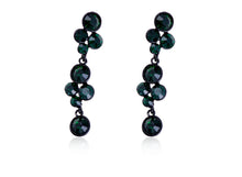 Load image into Gallery viewer, Emerald Green Orb Abstract Cluster Flower Dangle Drop Earrings