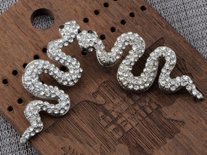 Slithering Serpent Egyptian Cleopatra Ice Bling Stud Earrings
