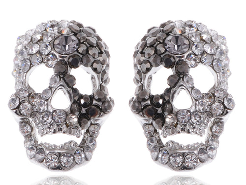 Grey Cutout Scary Skull Head Stud Earrings