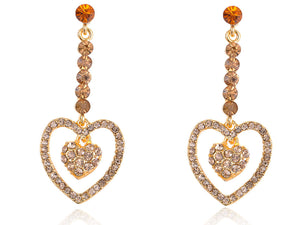 Topaz Yellow Heart Shape Dangle Cluster Dangle Drop Earrings