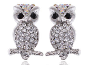 Aurore Boreale Skinny Perched Owl Bird Stud Earrings