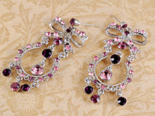 Load image into Gallery viewer, Purple Pink Ribbon Bow Princess Girl Chandelier Drop Earrings