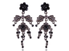 Load image into Gallery viewer, Gun Black Gothic Flower Leaf Dangle Earrings