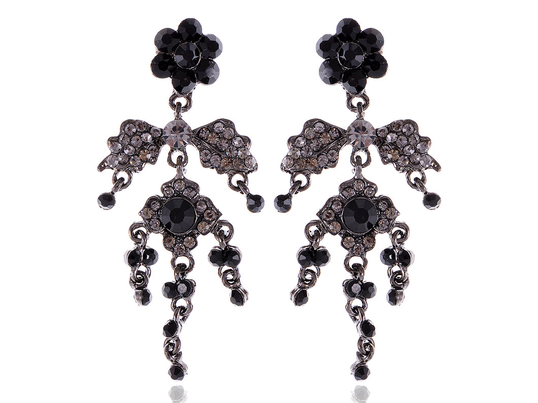 Gun Black Gothic Flower Leaf Dangle Earrings