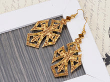 Load image into Gallery viewer, Antique Deep Topaz Cross Dangle Fishhook Earrings