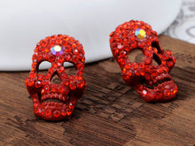 Load image into Gallery viewer, Grey Cutout Scary Skull Head Stud Earrings